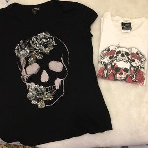 Sequin💀skull tee shirt by Express!  W/ extra!!!